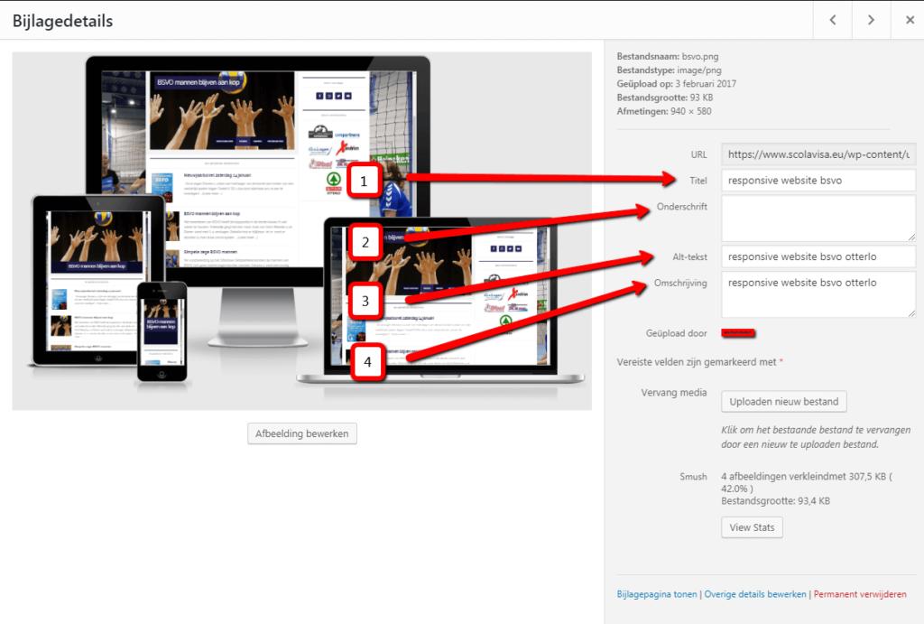 Metadata toevoegen aan wordpress afbeelding